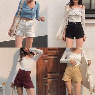 [FAST PO] Korean Ulzzang 4 Colours High Waisted Denim Button Side Zipper Stretch Retro Shorts Pants