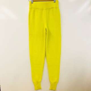 Alexander Wang yellow green knitted pants size XS