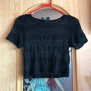 FREE SHIPPING TOPSHOP Lace black crop top