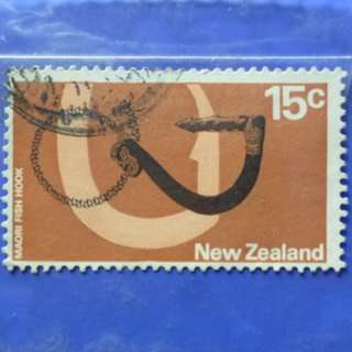 Stamp New Zealand 1970  Pictorial Definitives Maori Fish Hook 15c