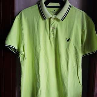 AMERICAN EAGLE OUTFITTERS MEN'S LOGO POLO SHIRT-LARGE