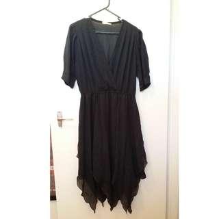 Genuine Affinity Sydney 80s vintage black dress irregular hem cut fits 12 / medium or a belted 10
