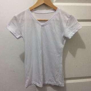 White plain T-shirt (V neck)