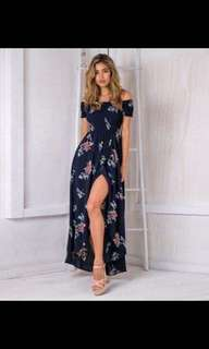 OffShoulder Floral Maxi Dress
