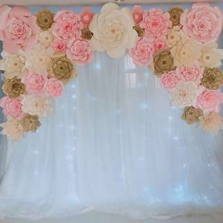 Paper flowers backdrop for Rent