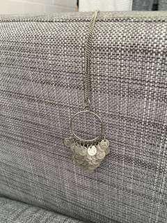 Boho Long Silver Necklace