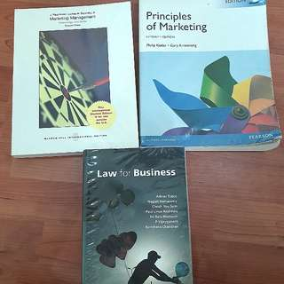 Textbooks for sale ( law for business , principles of marketing, marketing management)