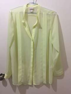 H&M Yellow Chiffon Top