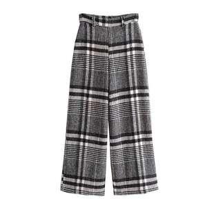 🚚 「新品推薦」韓版時尚百搭寬鬆格子毛呢闊腿褲