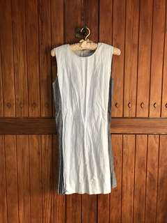 Linen Dress in Light Blue and Blue Gray