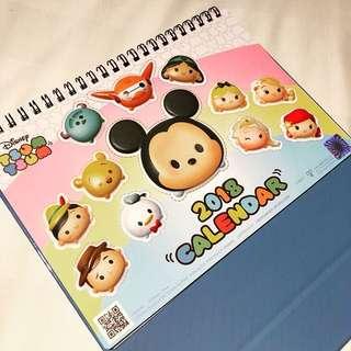 包郵🌈全新台灣製 迪士尼正版限定 2018年TsumTsum座枱月曆