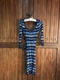 Blue 70's Inspired Knit Dress