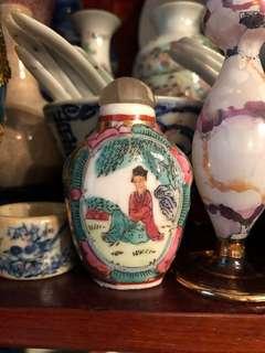Vintage Famille rose lady motifs snuff bottle