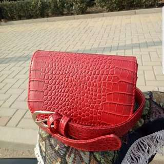 Red crocodile skin style pouch waist bag clutch small
