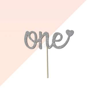 one Script Font with Heart Silver Glitters Cake Topper