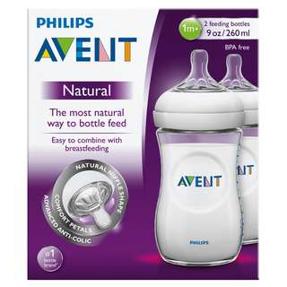 Avent Natural Feeding Bottle 2 x 260ML 9Oz