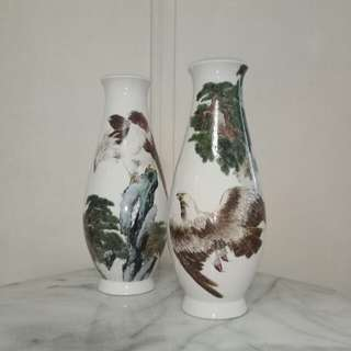 Vintage Porcelain vase with enamel painting height 35cm perfect condition 2pcs