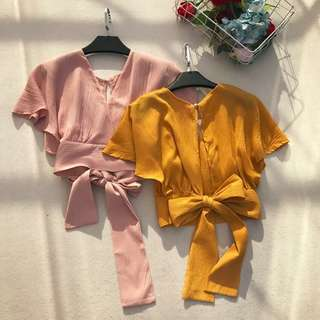 INSTOCK Tie Ribbon Crop Top