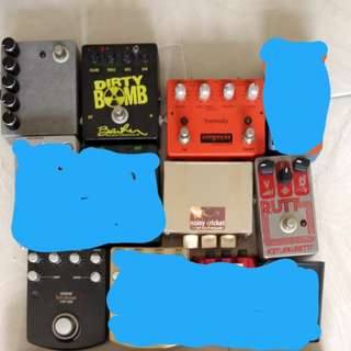 Pedals for sale: Barber dirty bomb, empress tremolo, kimjawbetta rutt, byoc shred meister, Beavis audio noisy cricket micro amp