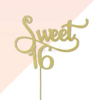 Sweet 16 Gold Glitters Cake Topper