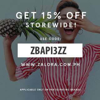 FREE 15% DISCOUNT! USE THE CODE UPON CHECKOUT (ZALORA)