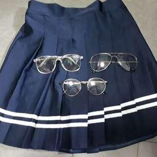藍色學院風百褶裙