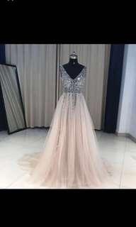 Beautiful sequin peach prom dress