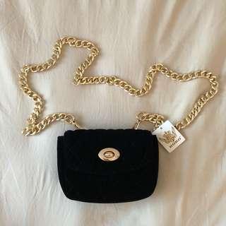 Small Black and Gold Shoulder Bag