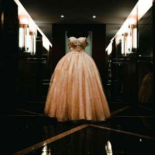 CHAMPAGNE/GOLD BALL GOWN SHIMMERY FOR RENT