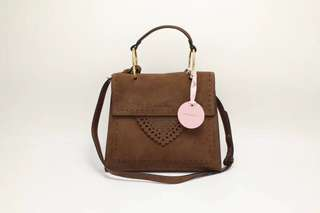 Coccinelle Leather Satchel / Crossbody Bag - brown