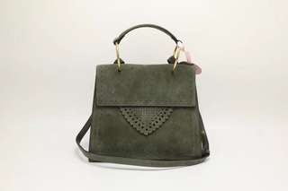 Coccinelle Leather Satchel / Crossbody Bag - dusty green