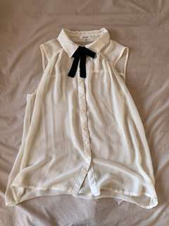 Preppy Chiffon See Through Black Bow Button Top