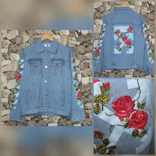 Jaket denim  off white bordel bunga
