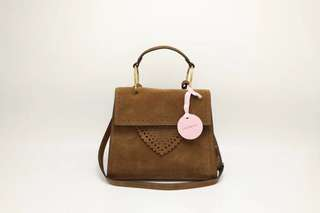 Coccinelle Leather Satchel / Crossbody Bag - light brown
