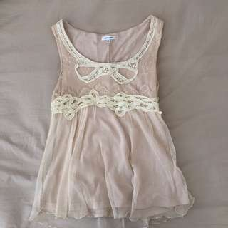 Girly Cream Lace Top
