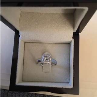 New GIA 14k WG .38 Rectangular Modified Brilliant Diamond Ring w/Diamond Halo