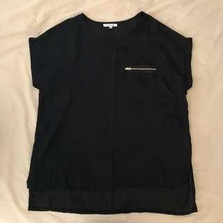 Black Chiffon Zip T Shirt Top (Size 6)