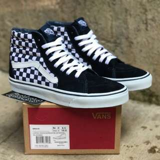 VANS SK8 HI (JAPAN INDIGO) CHECKERBOARD BLUE / WHITE
