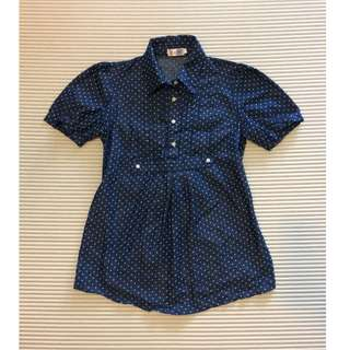 Dark Blue / Navy Polka Dots shirt / blouse with collar and floral buttons / Maternity wear
