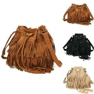 Tassel Shoulder Bag - Brown