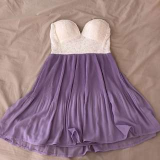 Cute White and Purple Strapless Dress