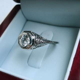 GIA CERTIFIED 18k WHITE GOLD 0.62CT DIAMOND FILIGREE RING