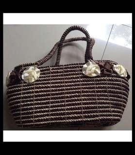 (NEW) Dark Brown Ratan Bag