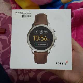 DIJUAL FOSSIL Q GEN 3 SMARTWATCH LEATHER BROWN SILVER