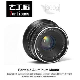 7Artisans 25mm F1.8 Lens For Sony E Fujifilm X MFT Camera