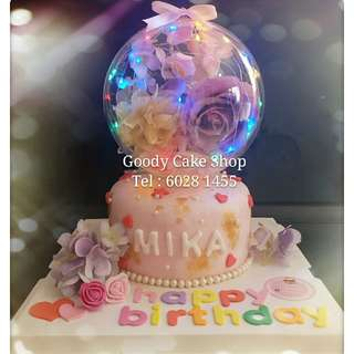 水晶球led玫瑰花蛋糕