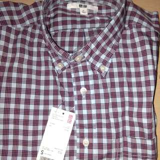 Brand New Uniqlo Small Checkered Cotton Polo Shirt