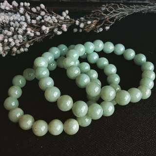 10.2mm A-Grade Type A Natural Mint Green Jadeite Jade Beaded Bracelet No.190069