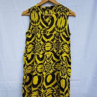 Yellow and Black Printed Dress