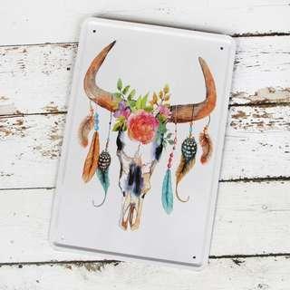 Ornamented Antlers Metal Poster / Design